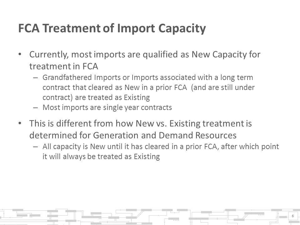 Current Mitigation Rule for Existing Import Capacity Resources An Existing Import Capacity Resource cannot exit the FCA above the Dynamic De-list Threshold, unless the Participant submits a De-list Bid that is reviewed and approved by the IMM The Existing Import Capacity Resource cannot exit the FCA at prices above the IMM approved De-list Bid and must exit the FCA if the price falls below the IMM approved De-list Bid Existing Import Capacity Resources that do not submit a De- list Bid are free to exit the auction at prices below the Dynamic De-list Threshold 7