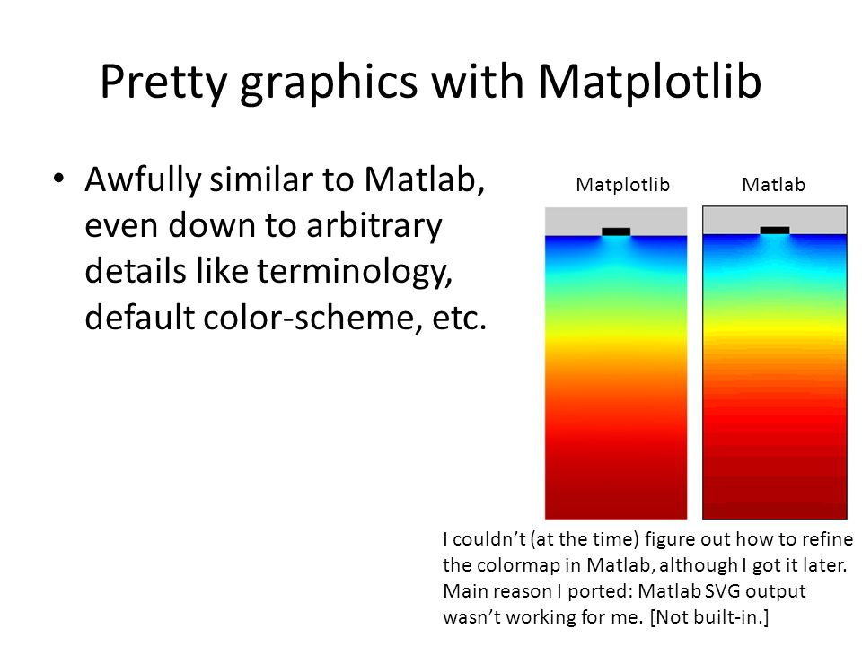 Pretty graphics with Matplotlib Awfully similar to Matlab, even down to arbitrary details like terminology, default color-scheme, etc.