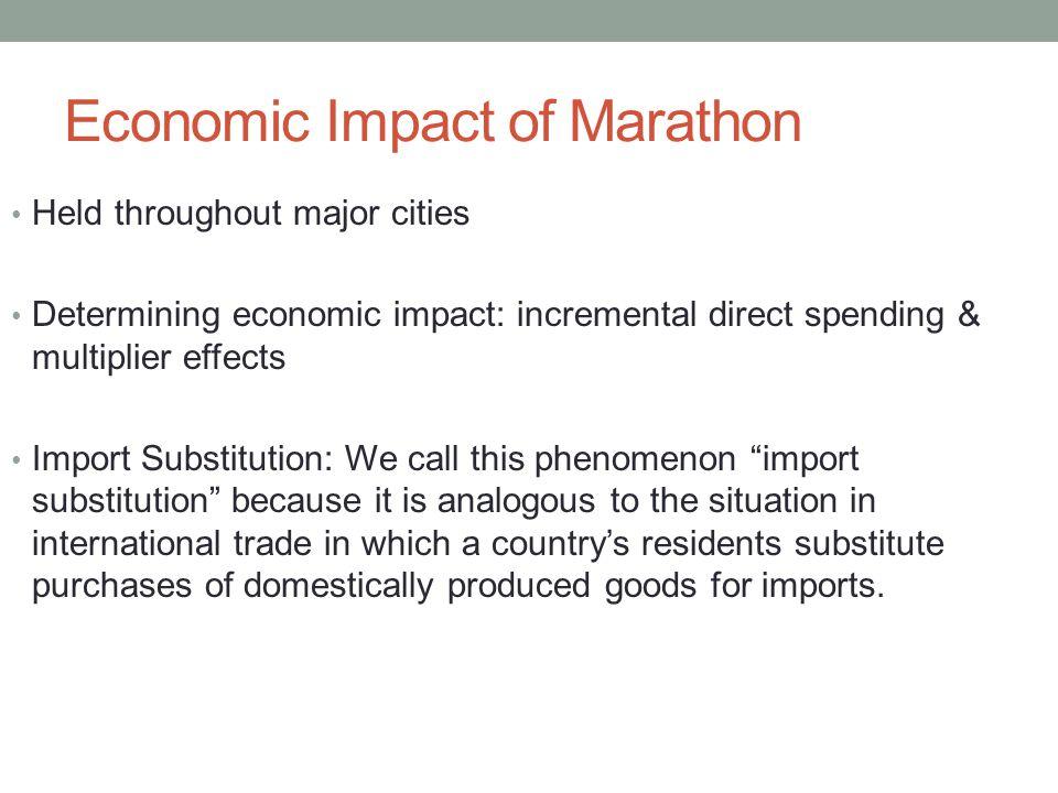 Economic Impact of Marathon Held throughout major cities Determining economic impact: incremental direct spending & multiplier effects Import Substitu