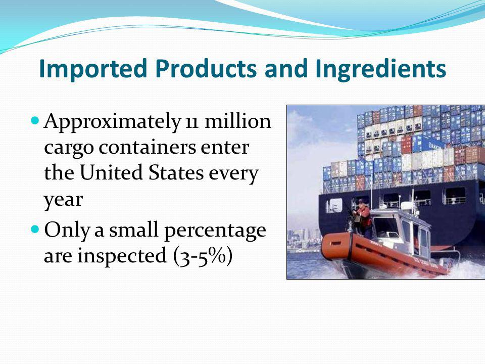 Imported Products and Ingredients Approximately 11 million cargo containers enter the United States every year Only a small percentage are inspected (3-5%)