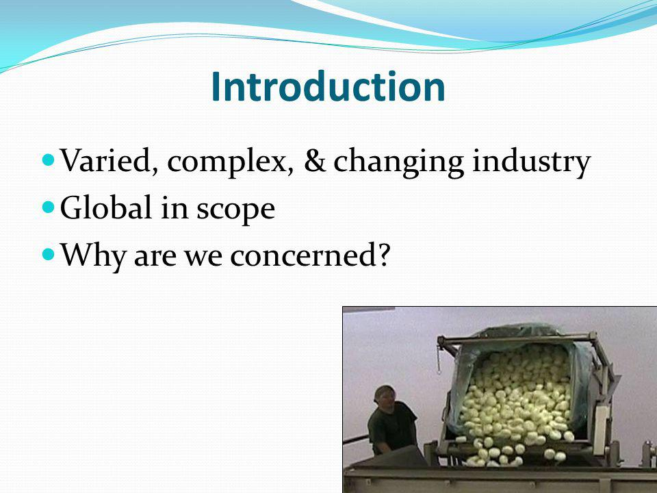 Introduction Varied, complex, & changing industry Global in scope Why are we concerned LSU