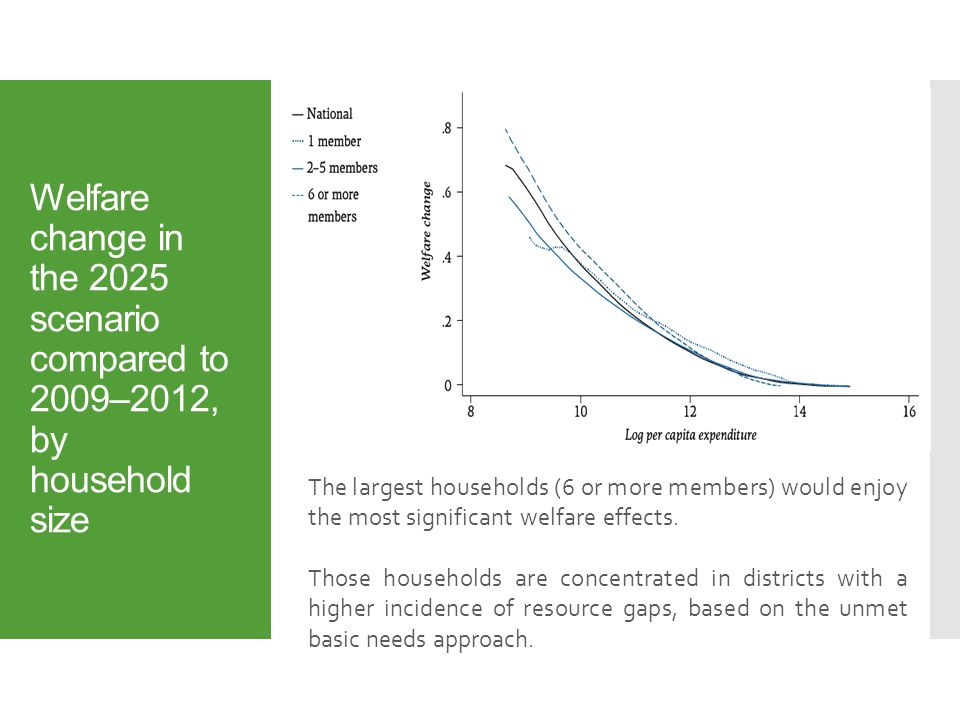 Welfare change in the 2025 scenario compared to 2009–2012, by household size The largest households (6 or more members) would enjoy the most significant welfare effects.