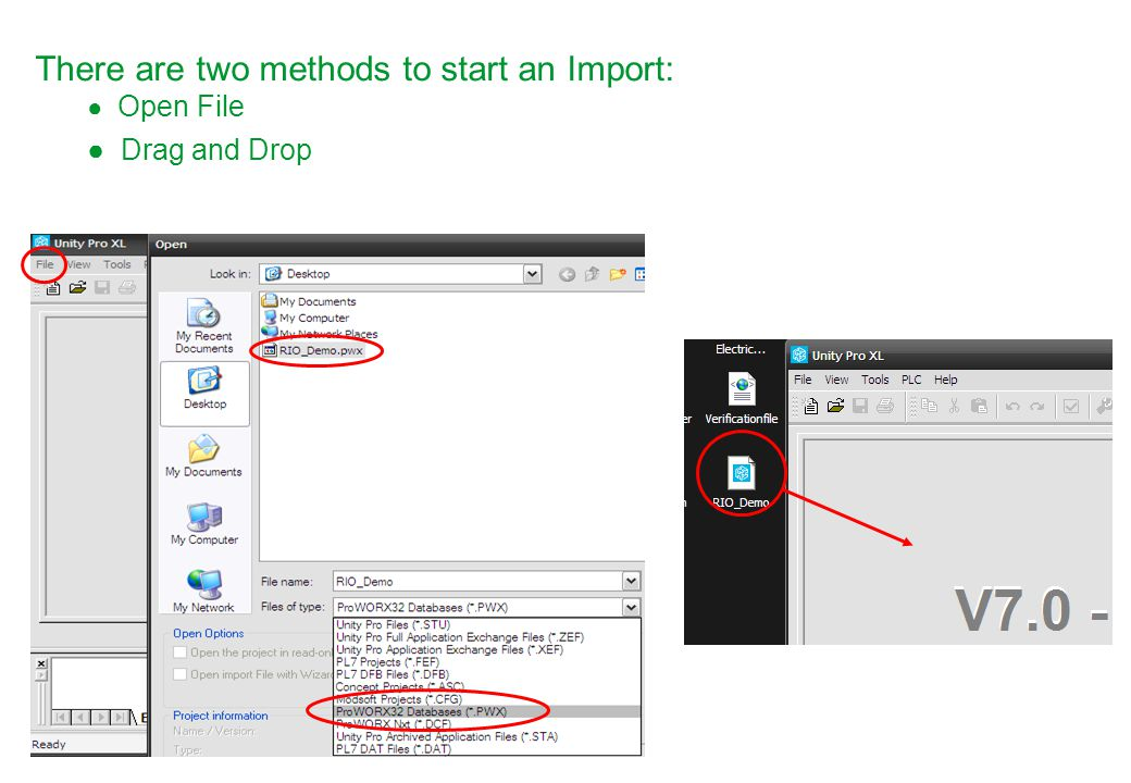 There are two methods to start an Import: ● Open File ● Drag and Drop