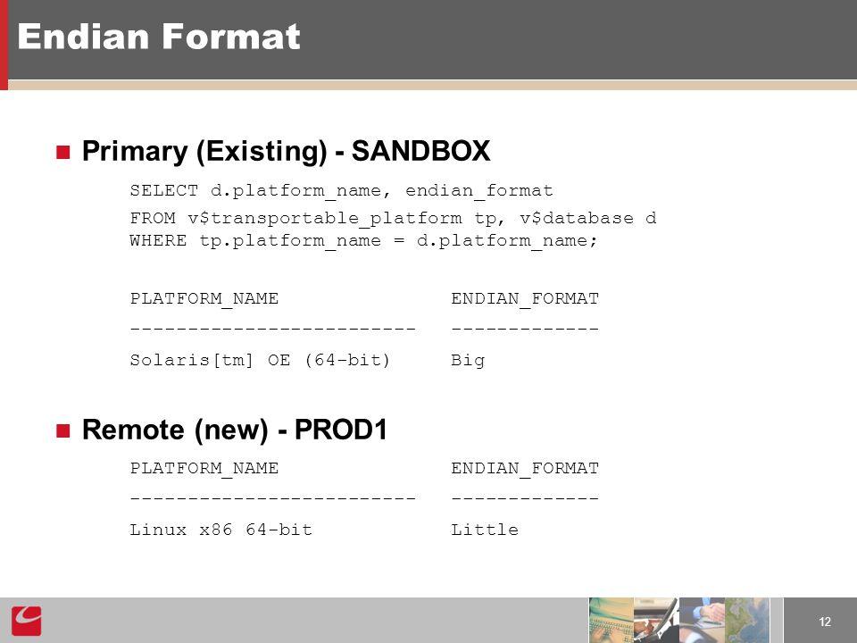 12 Endian Format Primary (Existing) - SANDBOX SELECT d.platform_name, endian_format FROM v$transportable_platform tp, v$database d WHERE tp.platform_name = d.platform_name; PLATFORM_NAME ENDIAN_FORMAT ------------------------- ------------- Solaris[tm] OE (64-bit) Big Remote (new) - PROD1 PLATFORM_NAME ENDIAN_FORMAT ------------------------- ------------- Linux x86 64-bit Little