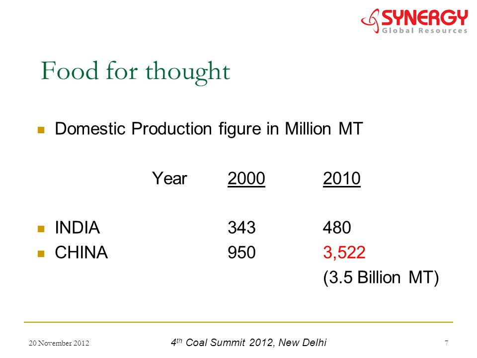 Domestic Production figure in Million MT Year 20002010 INDIA343480 CHINA9503,522 (3.5 Billion MT) 20 November 20127 Food for thought 4 th Coal Summit 2012, New Delhi