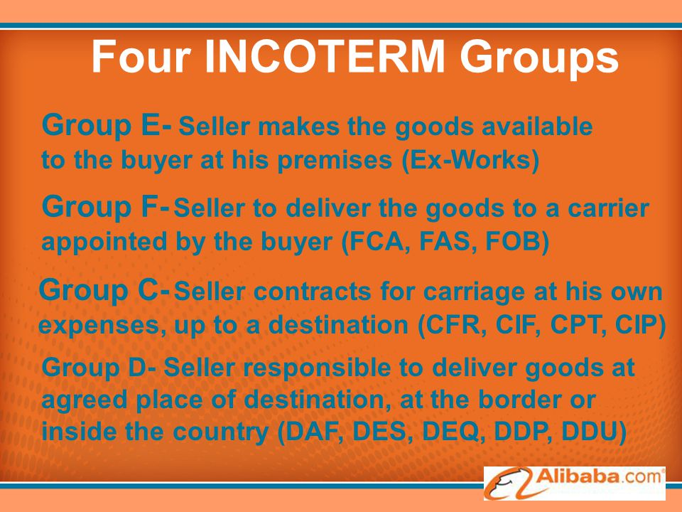 Four INCOTERM Groups Group E- Seller makes the goods available to the buyer at his premises (Ex-Works) Group F- Seller to deliver the goods to a carri