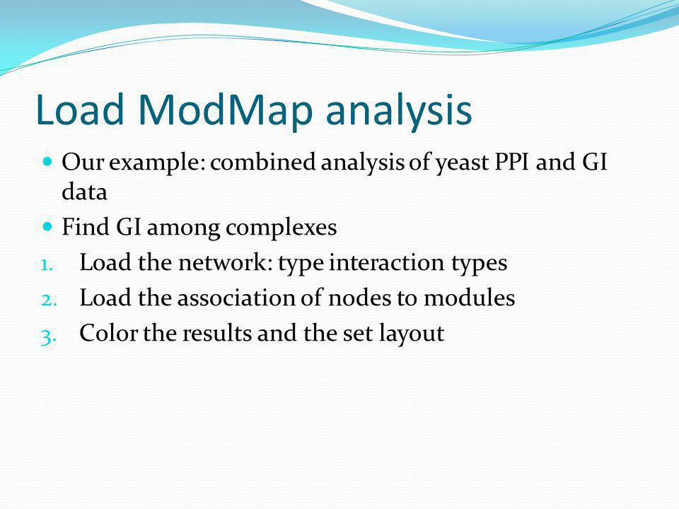 Load ModMap analysis Our example: combined analysis of yeast PPI and GI data Find GI among complexes 1.