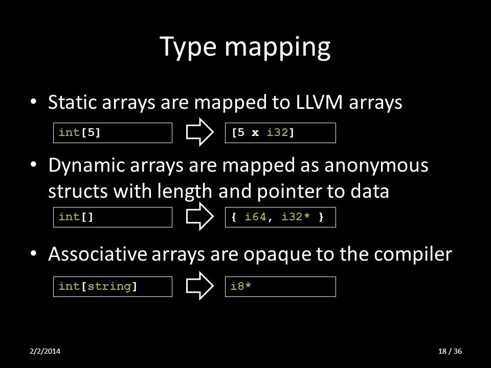 Type mapping Static arrays are mapped to LLVM arrays Dynamic arrays are mapped as anonymous structs with length and pointer to data Associative arrays are opaque to the compiler int[5][5 x i32] int[]{ i64, i32* } int[string]i8* 2/2/201418 / 36
