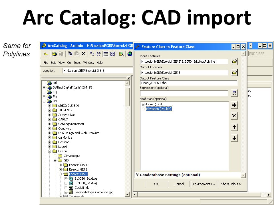 Arc Catalog: CAD import Same for Polygons