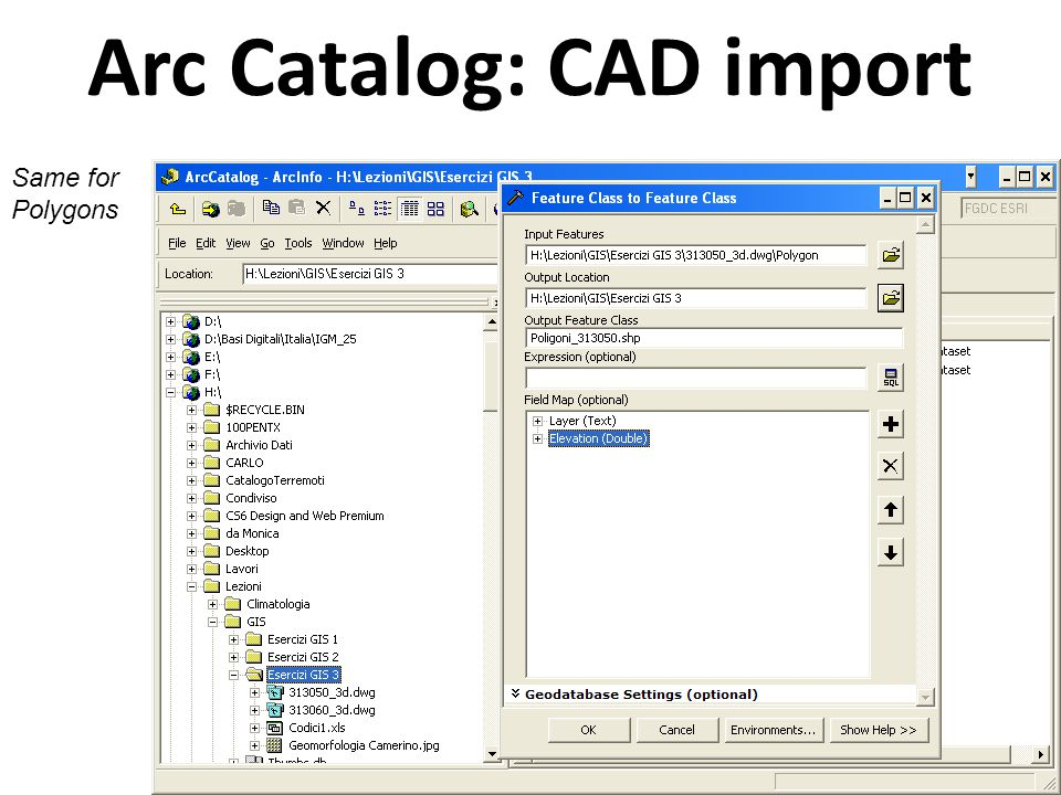 Arc Catalog: CAD import Same for Annotation For the annotation, import the Text field too.