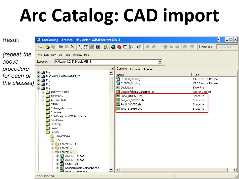 Arc Catalog: CAD import Result (repeat the above procedure for each of the classes)