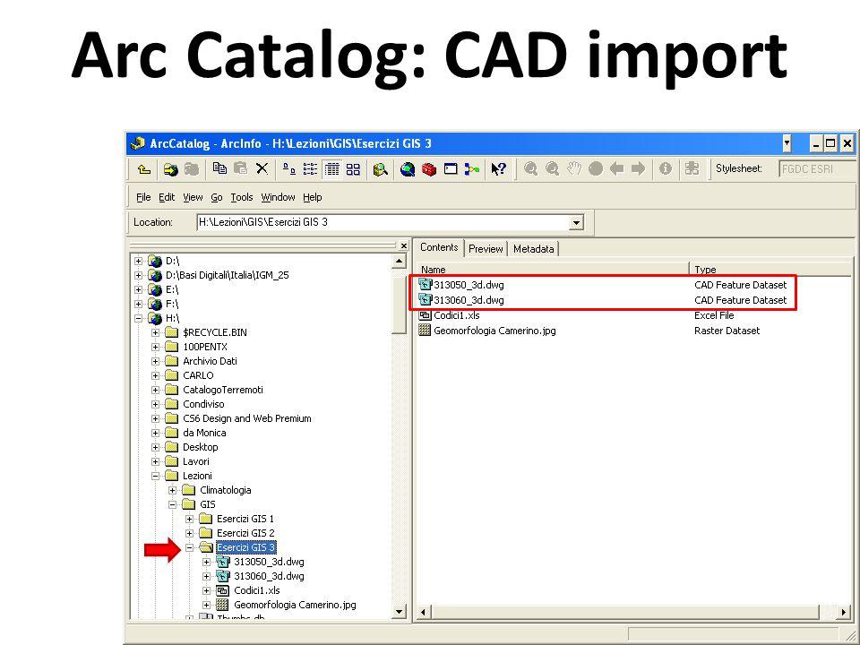 Arc Catalog: CAD import