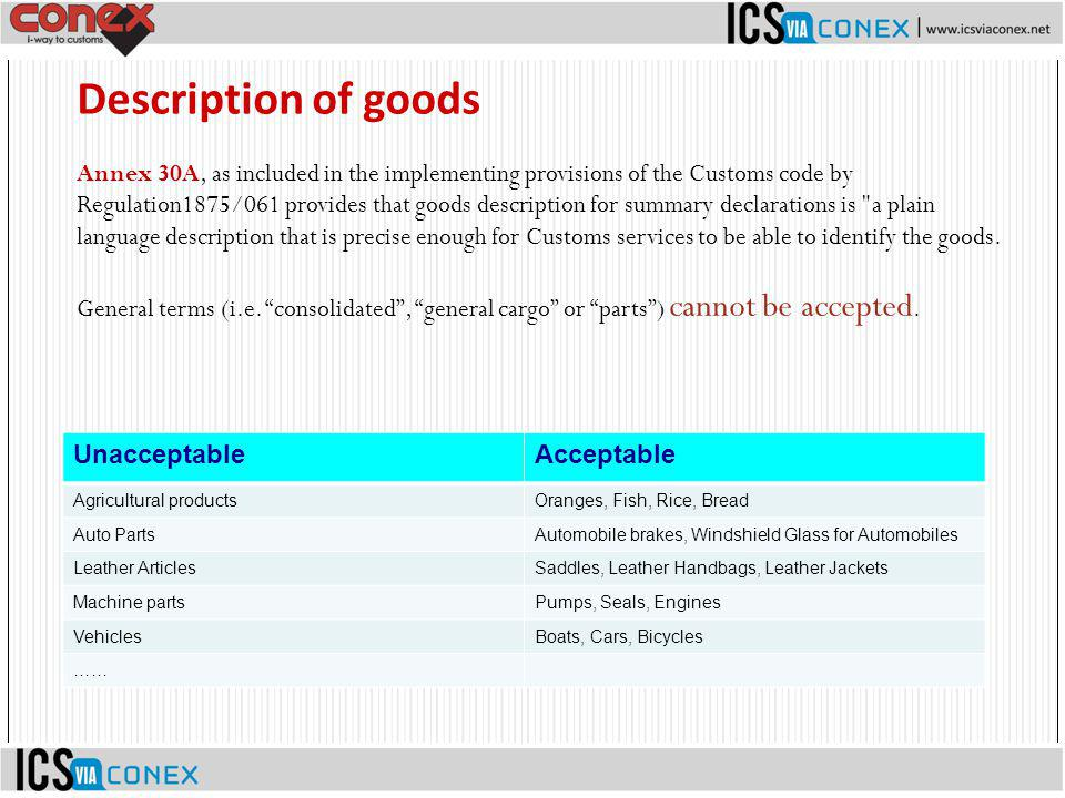 Annex 30A, as included in the implementing provisions of the Customs code by Regulation1875/061 provides that goods description for summary declaratio