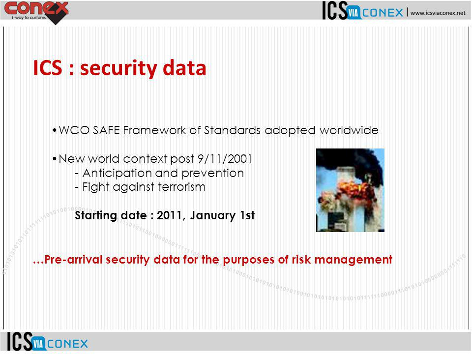 WCO SAFE Framework of Standards adopted worldwide New world context post 9/11/2001 - Anticipation and prevention - Fight against terrorism Starting da