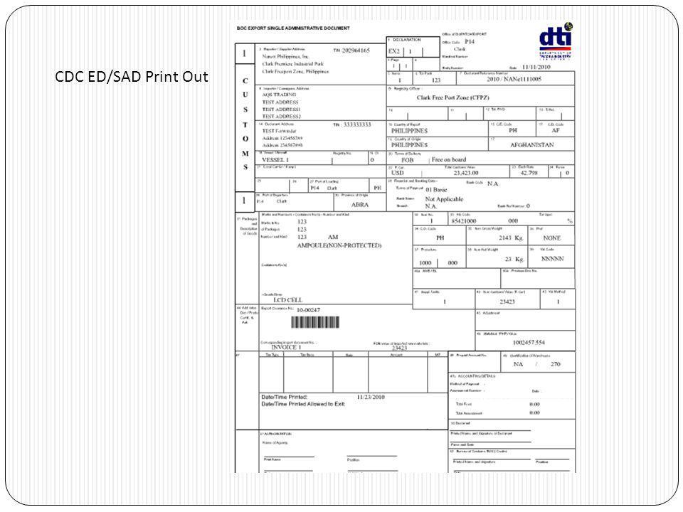 CDC ED/SAD Print Out