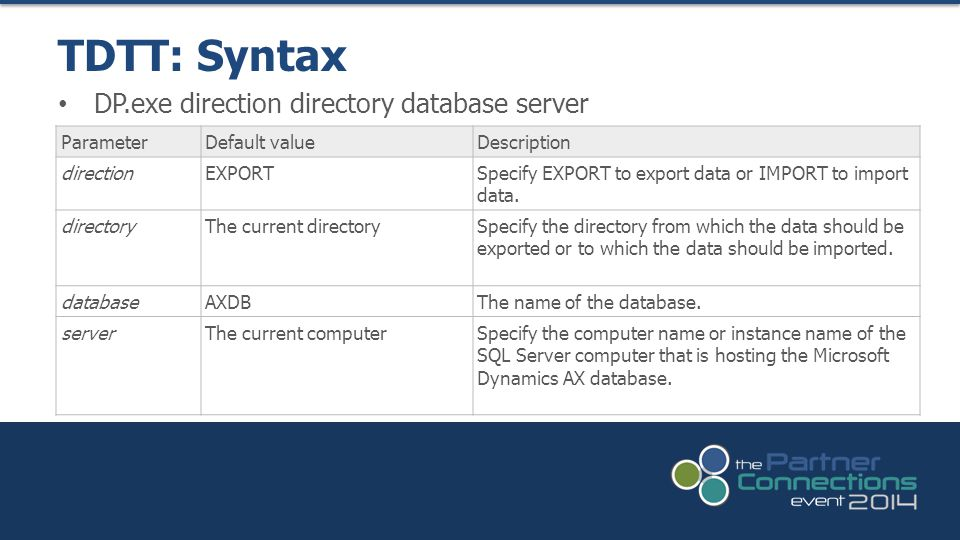 DP.exe direction directory database server TDTT: Syntax ParameterDefault valueDescription directionEXPORTSpecify EXPORT to export data or IMPORT to import data.