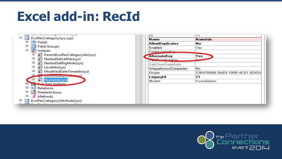Excel add-in: RecId