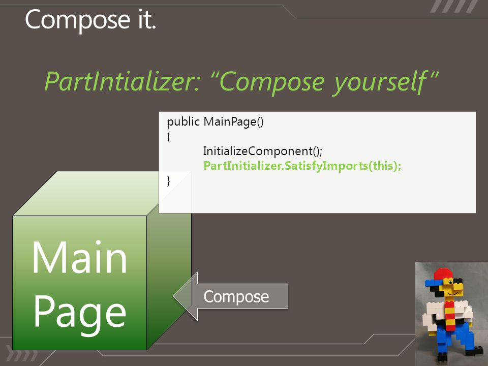 """Compose it. PartIntializer: """"Compose yourself"""" Main Page Compose public MainPage() { InitializeComponent(); PartInitializer.SatisfyImports(this); }"""