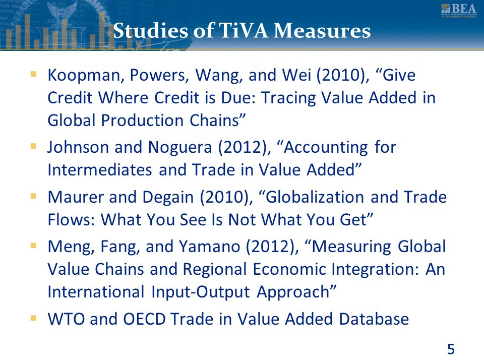 """5 Studies of TiVA Measures  Koopman, Powers, Wang, and Wei (2010), """"Give Credit Where Credit is Due: Tracing Value Added in Global Production Chains"""""""