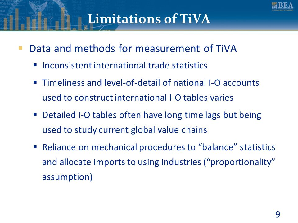 9 Limitations of TiVA  Data and methods for measurement of TiVA  Inconsistent international trade statistics  Timeliness and level-of-detail of nat