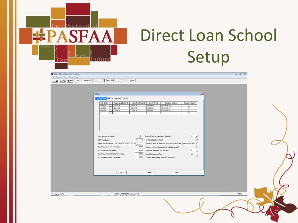 Direct Loan School Setup