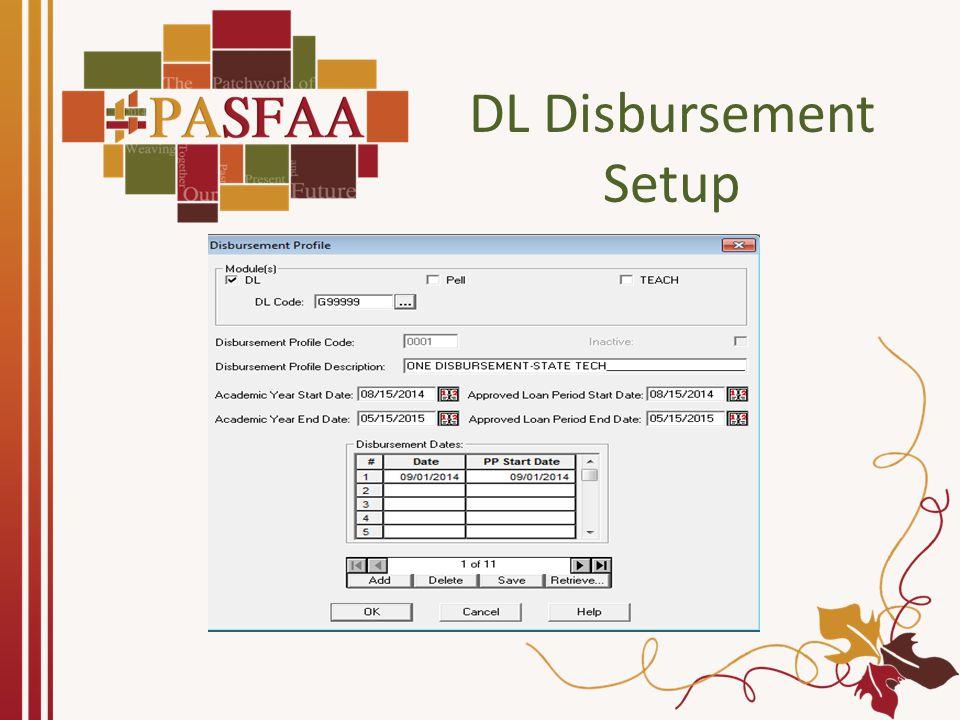 DL Disbursement Setup