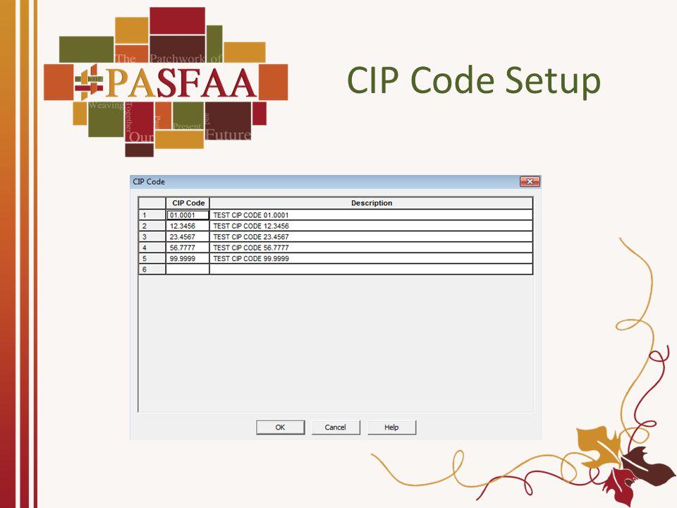 CIP Code Setup