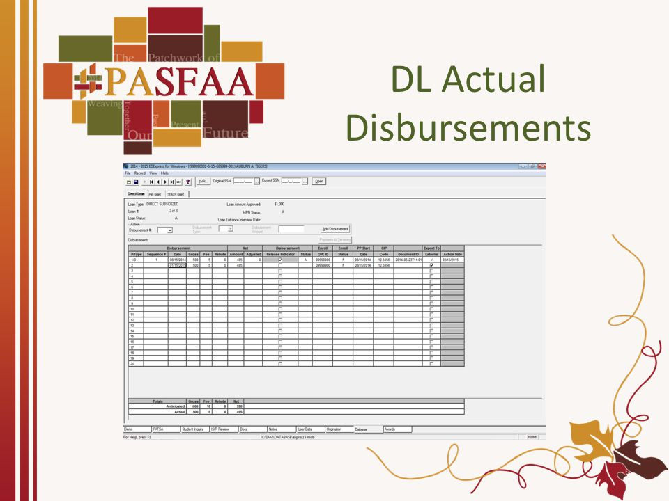 DL Actual Disbursements