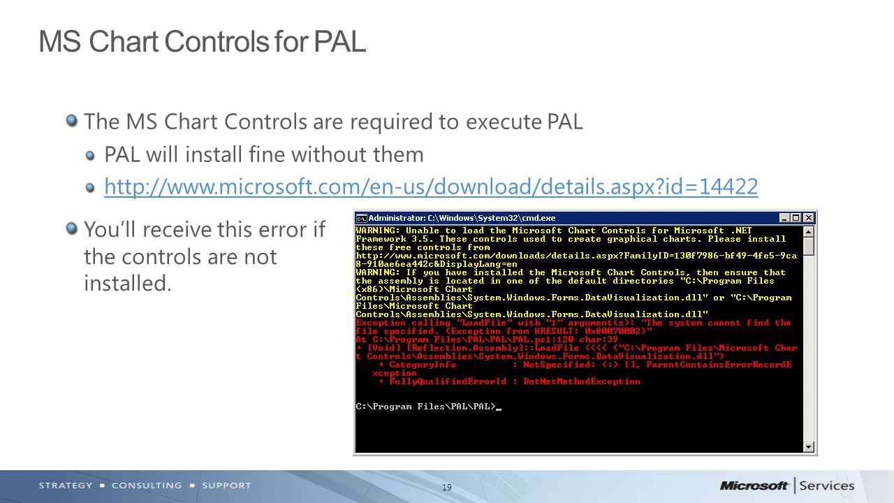 19 The MS Chart Controls are required to execute PAL PAL will install fine without them http://www.microsoft.com/en-us/download/details.aspx?id=14422 MS Chart Controls for PAL You'll receive this error if the controls are not installed.