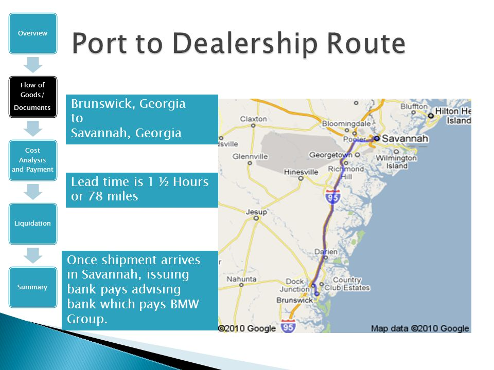 Brunswick, Georgia to Savannah, Georgia Lead time is 1 ½ Hours or 78 miles Once shipment arrives in Savannah, issuing bank pays advising bank which pays BMW Group.
