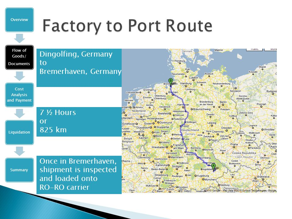 Dingolfing, Germany to Bremerhaven, Germany Overview Flow of Goods/ Documents Cost Analysis and Payment LiquidationSummary 7 ½ Hours or 825 km Once in Bremerhaven, shipment is inspected and loaded onto RO-RO carrier
