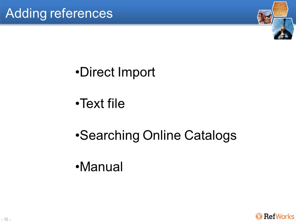 - 9 - More space for references display` This is a collapsible sidebar which offers Folders information and Quick Access to some features..