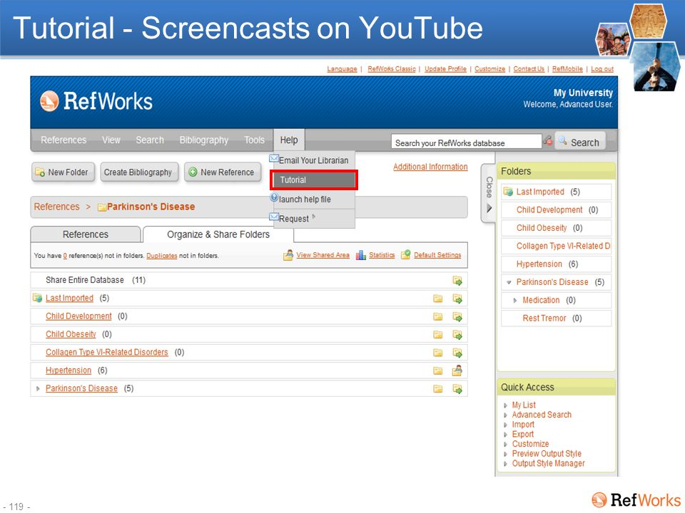 - 118 - RefWorks Webinars www.refworks-cos.com/training
