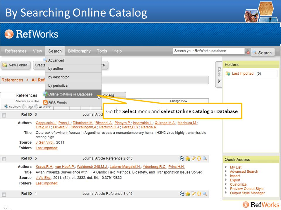 - 59 - Adding references Direct Import Text file Searching Online Catalogs Manual