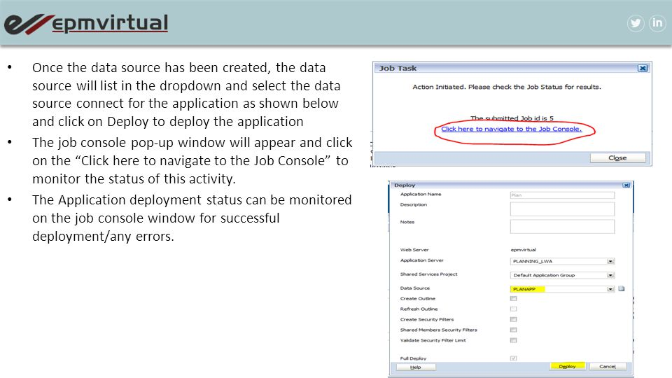 Once the data source has been created, the data source will list in the dropdown and select the data source connect for the application as shown below