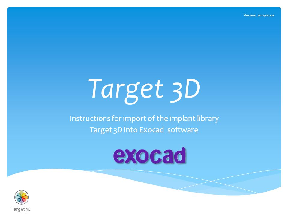 How to import the Target 3D Library 1.Download the Library form Target 3D website The Library in the folder should contain the following files: Target 3D