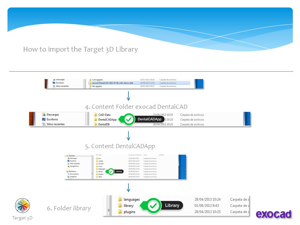 How to import the Target 3D Library 7.Content Folder library 8.