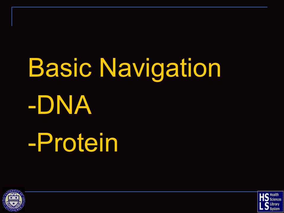 Basic Navigation -DNA -Protein