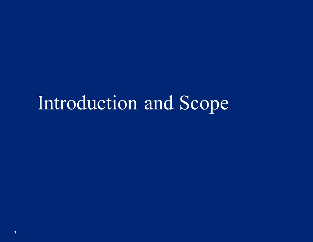 Introduction and Scope 3