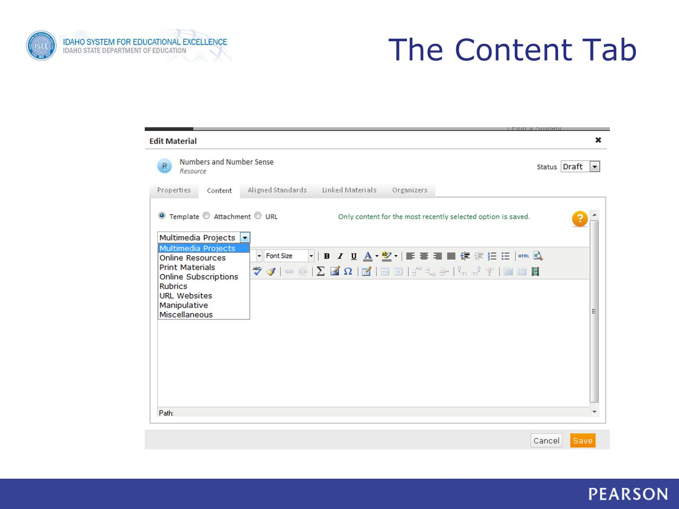 The Content Tab