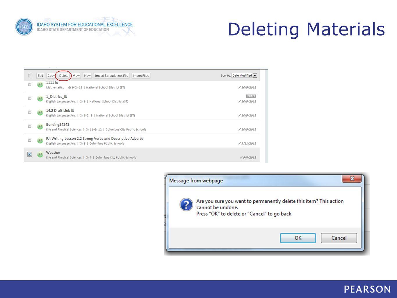 Deleting Materials