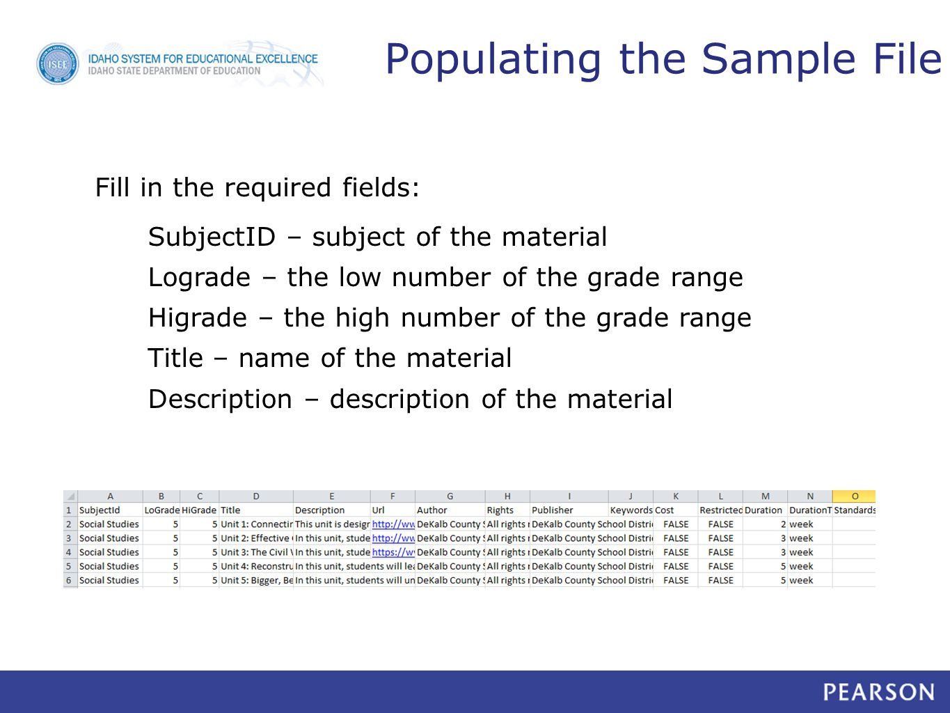 Populating the Sample File SubjectID – subject of the material Lograde – the low number of the grade range Higrade – the high number of the grade range Title – name of the material Description – description of the material Fill in the required fields: