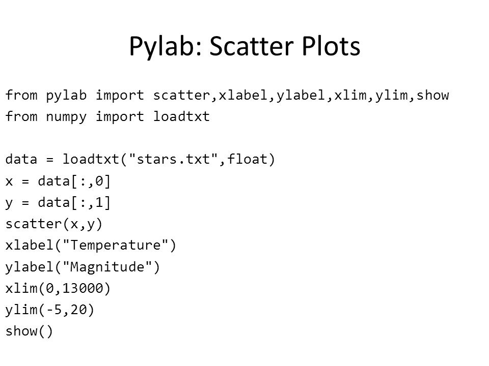 Pylab: Scatter Plots from pylab import scatter,xlabel,ylabel,xlim,ylim,show from numpy import loadtxt data = loadtxt(