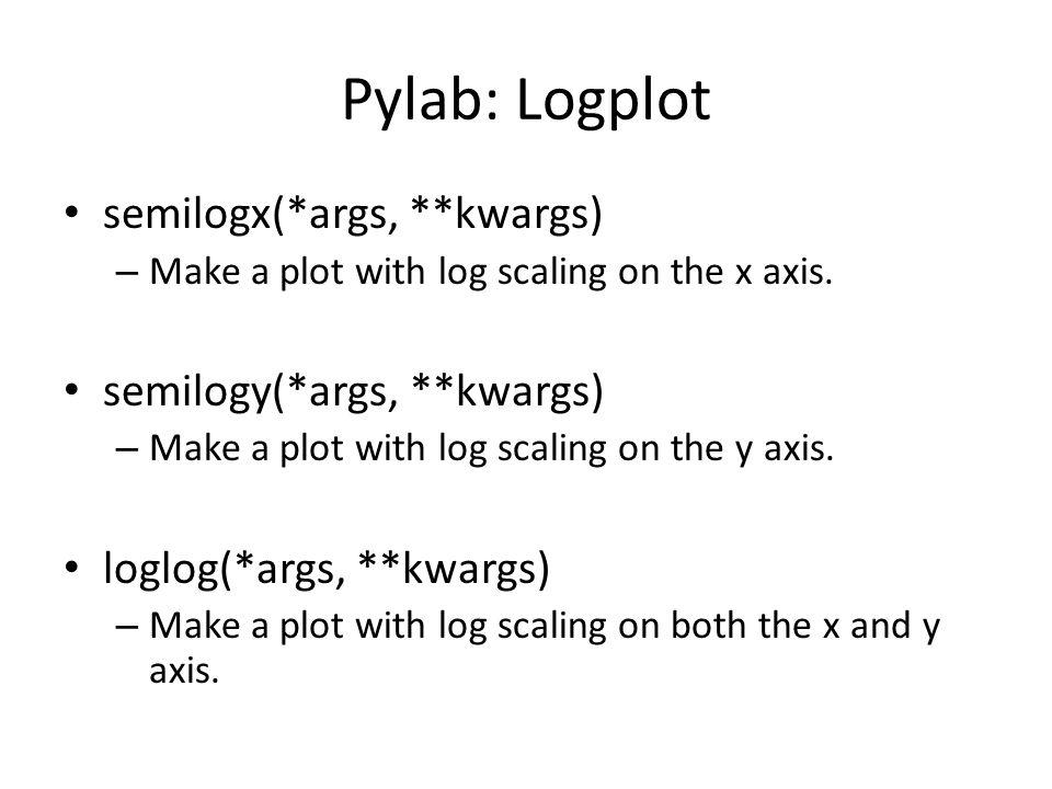 Pylab: Logplot semilogx(*args, **kwargs) – Make a plot with log scaling on the x axis. semilogy(*args, **kwargs) – Make a plot with log scaling on the