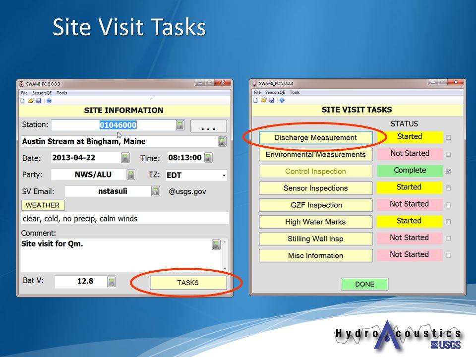 Site Visit Tasks