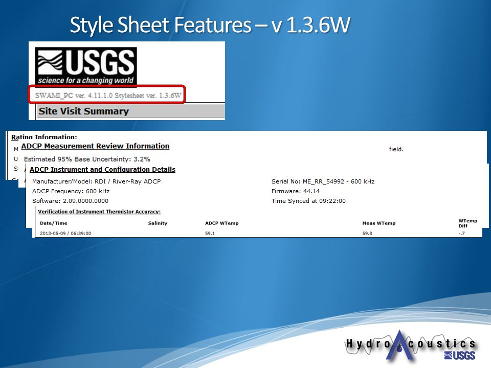Style Sheet Features – v 1.3.6W