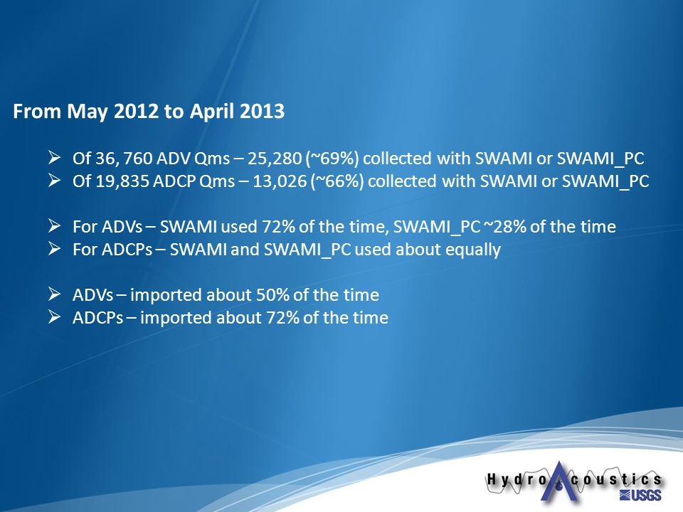 From May 2012 to April 2013  Of 36, 760 ADV Qms – 25,280 (~69%) collected with SWAMI or SWAMI_PC  Of 19,835 ADCP Qms – 13,026 (~66%) collected with SWAMI or SWAMI_PC  For ADVs – SWAMI used 72% of the time, SWAMI_PC ~28% of the time  For ADCPs – SWAMI and SWAMI_PC used about equally  ADVs – imported about 50% of the time  ADCPs – imported about 72% of the time