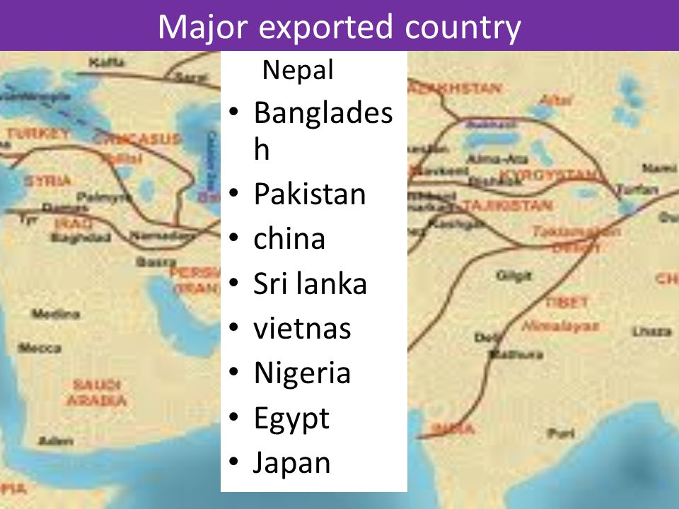 Major exported country Nepal Banglades h Pakistan china Sri lanka vietnas Nigeria Egypt Japan