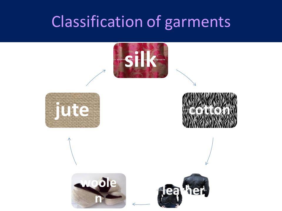 Classification of garments silk cotton leather woole n jute