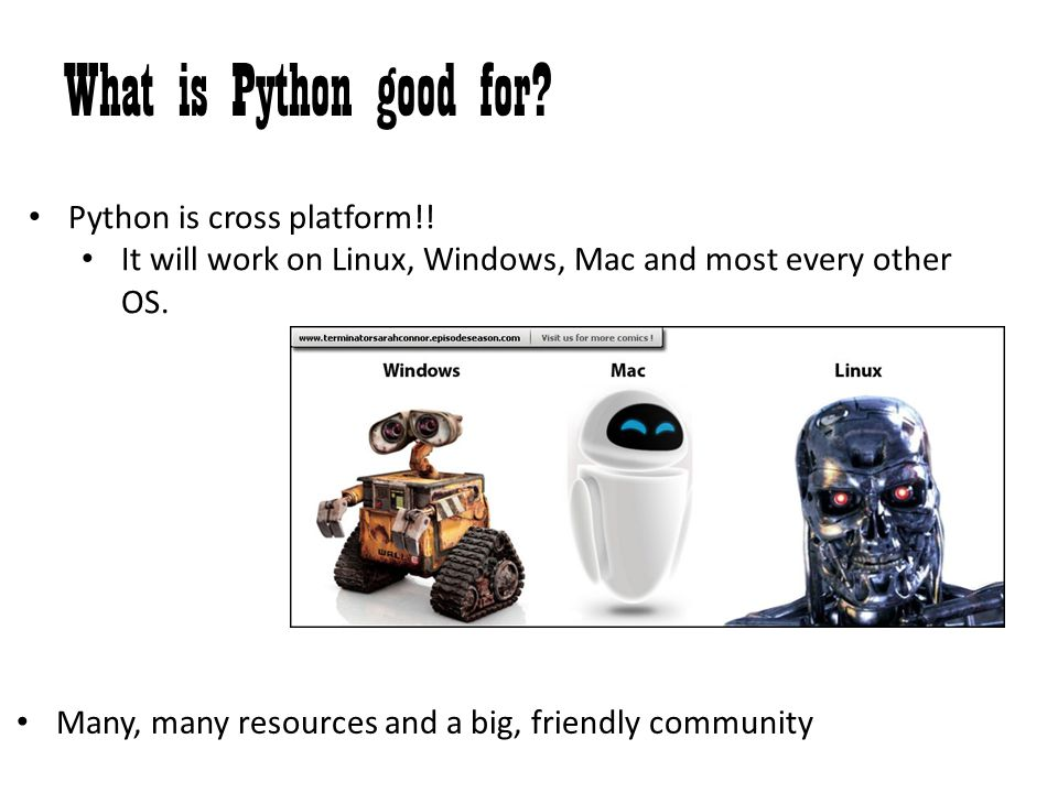 What is Python good for? Python is cross platform!! It will work on Linux, Windows, Mac and most every other OS. Many, many resources and a big, frien